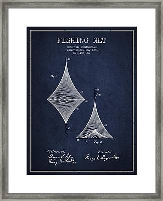 Fishing Net Patent From 1889- Navy Blue Framed Print by Aged Pixel