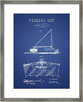 Fishing Net Patent From 1905- Blueprint Framed Print by Aged Pixel