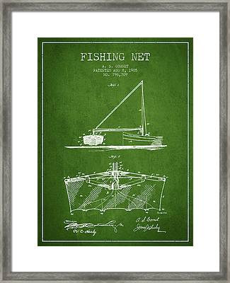 Fishing Net Patent From 1905- Green Framed Print by Aged Pixel