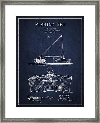 Fishing Net Patent From 1905- Navy Blue Framed Print by Aged Pixel