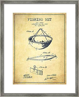 Fishing Net Patent From 1920- Vintage Framed Print by Aged Pixel