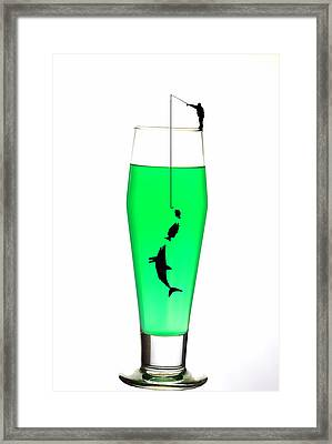 Fishing On A Cup Of Cocktail Little People On Food Framed Print by Paul Ge