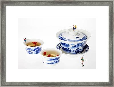Fishing On Tea Cups Little People On Food Series Framed Print by Paul Ge