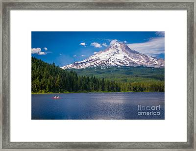 Fishing On Trillium Lake Framed Print by Inge Johnsson