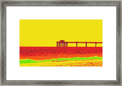 Fishing Pier In Red Framed Print by Laurie Pike