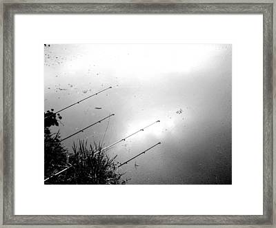 Fishing Poles Framed Print by Mike McCool