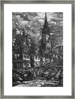 Fishing Port With Pointed Steeple Framed Print by Rodolphe Bresdin