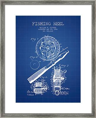 Fishing Reel Patent From 1906 - Blueprint Framed Print by Aged Pixel