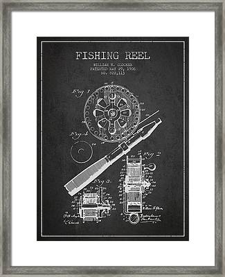 Fishing Reel Patent From 1906 - Charcoal Framed Print by Aged Pixel