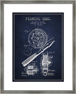Fishing Reel Patent From 1906 - Navy Blue Framed Print by Aged Pixel