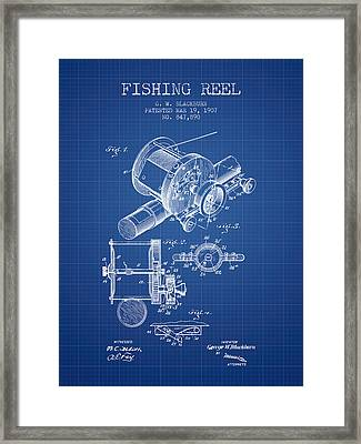 Fishing Reel Patent From 1907 - Blueprint Framed Print by Aged Pixel