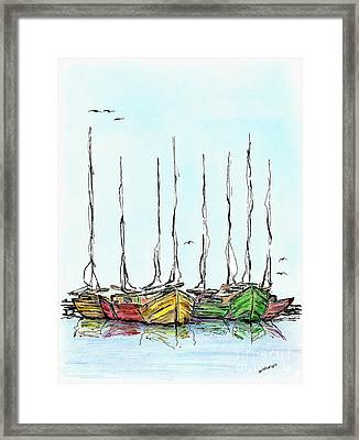 Fishing Sailboats Drawing Pen And Ink Framed Print by Mario Perez