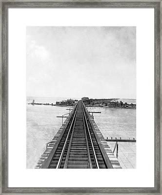 Fishing Village In Key West Framed Print by Underwood & Underwood