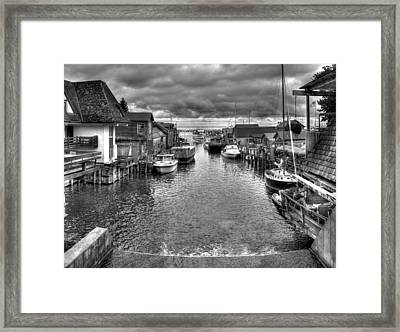 Fishtown In Lelans Black And White Framed Print by Twenty Two North Photography
