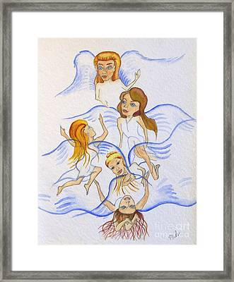 Five Angels Hanging Around  Framed Print by Kenneth Michur