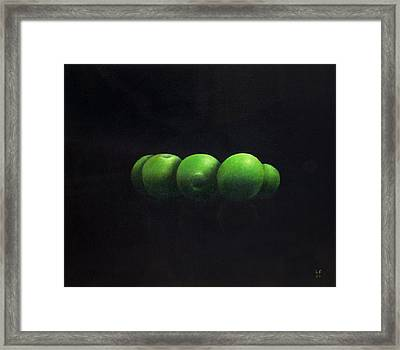Five Green Apples Framed Print by Lincoln Seligman