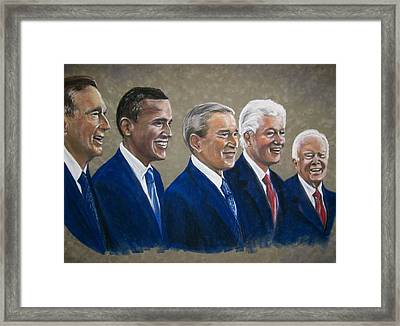 Five Living Presidents 2009 Framed Print by Martha Suhocke