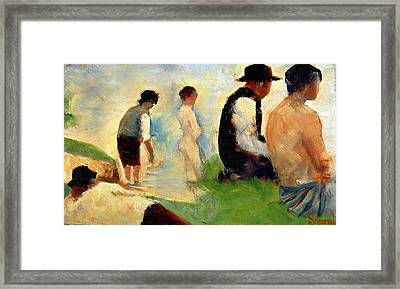 Five Male Figures Possible Preparatory Sketch For The ''bathers At Asnieres.'' Framed Print by Georges Pierre Seurat