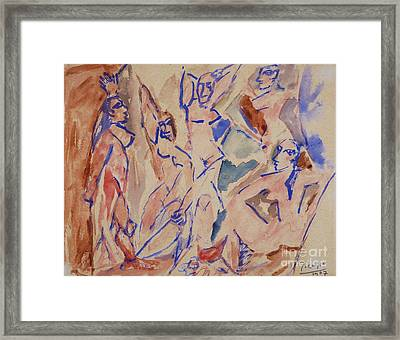 Five Nudes Study Framed Print by Pg Reproductions