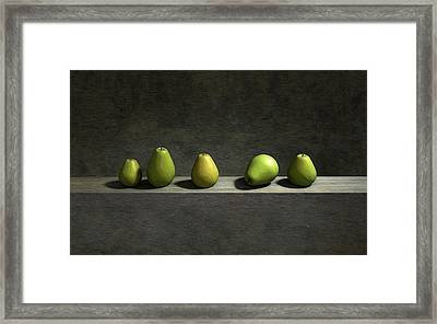 Five Pears Framed Print by Cynthia Decker