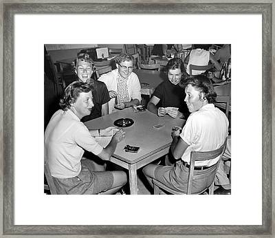 Five Women Playing Cards Framed Print by Underwood Archives