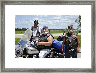 Fla Post 4143 Vfw Riders Detail Color Usa Framed Print by Sally Rockefeller