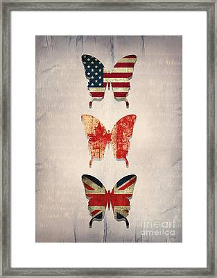 Flag Butterflies Framed Print by Steffi Louis