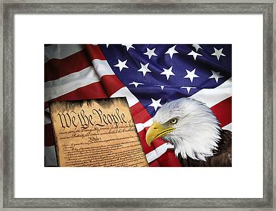 Flag Constitution Eagle Framed Print by Daniel Hagerman