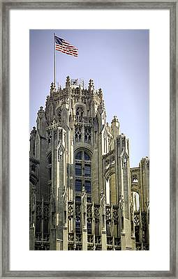 Flag Flying High Tribune Tower Framed Print by Julie Palencia