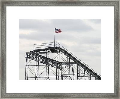 Flag Mounted On Seaside Heights Roller Coaster Framed Print by Melinda Saminski