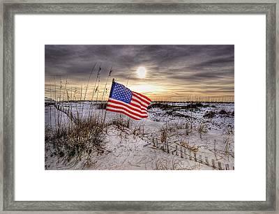 Flag On The Beach Framed Print by Michael Thomas