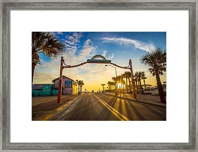 Flagler Avenue Beach Ramp At Sunrise Framed Print by DM Photography- Dan Mongosa