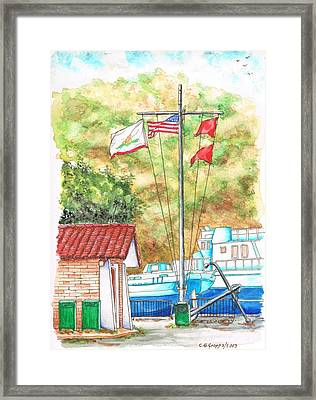 Flags In San Luis Port - Avila Beach - California Framed Print by Carlos G Groppa