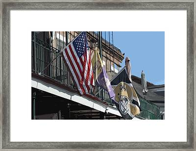 Flags On Bourbon Street Framed Print by Donna G Smith