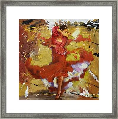 Flamenco 44 Framed Print by Maryam Mughal