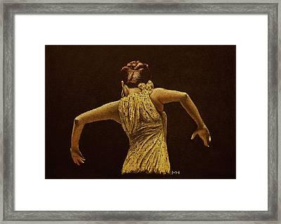 Flamenco Dancer In Yellow Dress Framed Print by Martin Howard