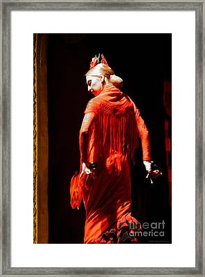 Flamenco Dancer With Golden Hair - Oil Framed Print by Mary Machare