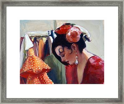 Flamenco Dancer With Roses In Her Hair  Framed Print by Susanne Forestieri