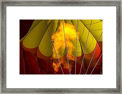 Flames Heating Up Hot Air Balloon Framed Print by Garry Gay