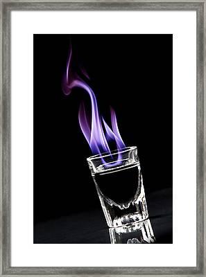Flaming Sambuca Framed Print by Samuel Whitton