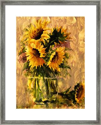 Flaming Sunflowers Vintage Expressionism Framed Print by Georgiana Romanovna