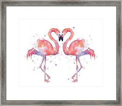 Flamingo Love Watercolor Framed Print by Olga Shvartsur