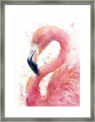 Flamingo Watercolor Painting Framed Print by Olga Shvartsur