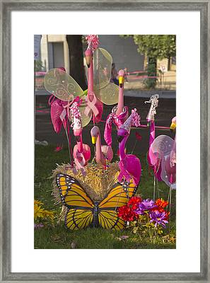 Flamingos Butterfly And Flowers Display. Framed Print by Gino Rigucci