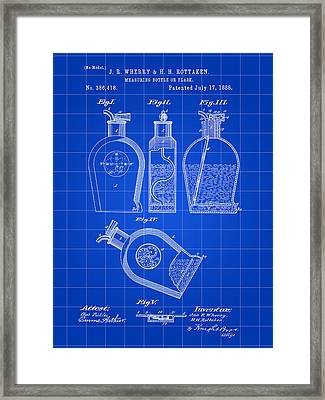 Flask Patent 1888 - Blue Framed Print by Stephen Younts