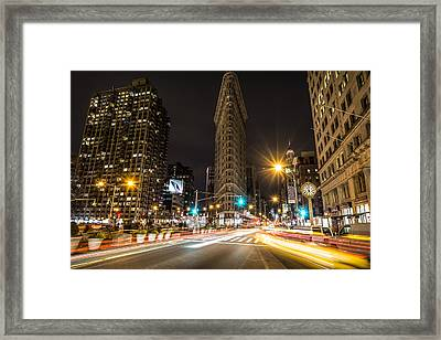 Flatiron Building At Night Framed Print by David Morefield