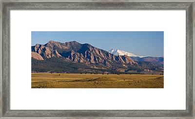Flatirons And Snow Covered Longs Peak Panorama Framed Print by James BO  Insogna