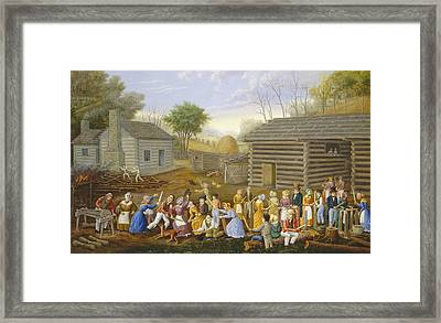 Flax Scutching Bee, 1885 Oil On Bed Ticking Framed Print by Linton Park