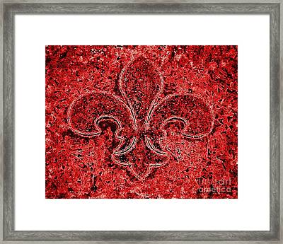 Fleur De Lis Red Ice Framed Print by Janine Riley