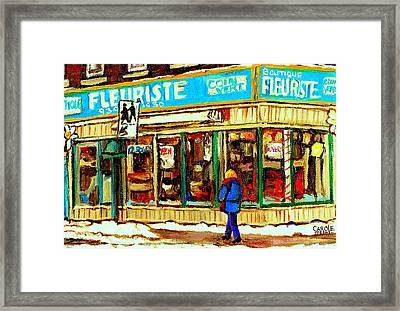 Fleuriste Notre Dame Flower Shop Paintings Carole Spandau Winter Scenes Framed Print by Carole Spandau